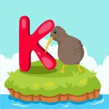 L'illustrateur de Letter'K est pour le bird de kiwi Photo stock