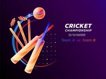 L'illustration abstraite de vecteur du sport de cricket du liquide coloré éclabousse et des courses de brosse des lignes au néon  illustration libre de droits