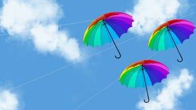L'illustration accrochante de l'animation 3d de parapluie rendent illustration libre de droits