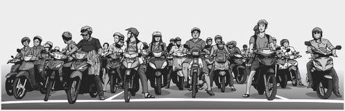 L'illustration avec le détail de la rue asiatique occupée avec des motocyclettes et les vélomoteurs à l'arrêt signent Image libre de droits