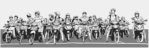 L'illustration avec le détail de la rue asiatique occupée avec des motocyclettes et les vélomoteurs à l'arrêt signent Photographie stock libre de droits