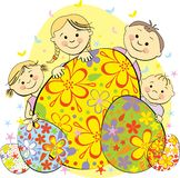 L'illustration célèbrent des enfants Pâques Photos libres de droits