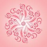 L'illustration cerclée de vecteur de feuille avec des rêves centrés chronomètrent le logo dans le ton rosâtre photographie stock libre de droits