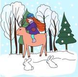 L'illustration chez la fille de dessin du style des enfants avec un cerf commun marche dans la forêt illustration stock