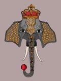 L'illustration a coloré l'éléphant dans la couronne, un éléphant de cirque Photo libre de droits