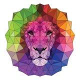 L'illustration colorée de vecteur de lion de museau avec les yeux haut-détaillés, se composant des triangles avec une course Bass photographie stock