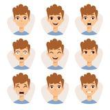 L'illustration comportant le garçon badine montrer le vecteur différent de bande dessinée d'émotions d'expressions du visage Images libres de droits