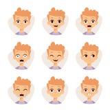L'illustration comportant le garçon badine montrer le vecteur différent de bande dessinée d'émotions d'expressions du visage Photographie stock libre de droits