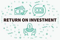 L'illustration conceptuelle d'affaires avec les mots retournent investissent dessus illustration stock