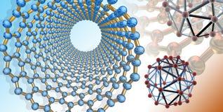 L'illustration conceptuelle s'est rapportée aux nanostructures de carbone dans l'environnement Images stock