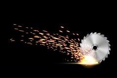 L'illustration créative de vecteur de la circulaire scie la lame pour le bois, métal ouvré avec le feu en métal de soudage étince illustration libre de droits