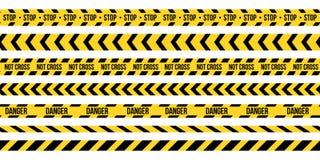 L'illustration créative de vecteur de la police noire et jaune barrent la frontière Ensemble de bandes sans couture de précaution illustration stock