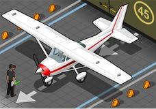 Avion blanc isométrique dans la vue de face Photographie stock