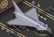 Eurofighter isométrique débarqué dans la vue de face Image libre de droits