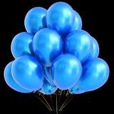 l'illustration 3D de l'hélium bleu de partie monte en ballon la décoration d'anniversaire Photographie stock libre de droits