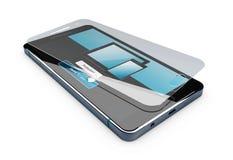 l'illustration 3d de la couverture de film de protecteur d'écran ou en verre a isolé le blanc Image stock