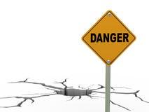 fente de la terre 3d et panneau routier de danger Images stock