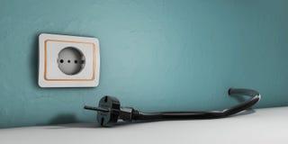 l'illustration 3d de la prise de puissance avec le câble a branché sur le fond blanc Images libres de droits