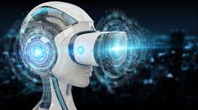 L'illustration 3D de réalité virtuelle et d'intelligence artificielle les déchirent