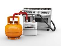 l'illustration 3d des cylindres de propane avec le compteur à gaz et la cuisinière à gaz a isolé le blanc photographie stock libre de droits