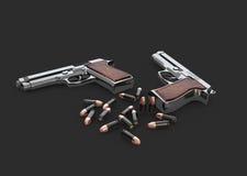 l'illustration 3d des pistolets lancent avec des balles, noir d'isolement Image libre de droits