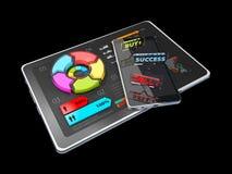 l'illustration 3D du graphique circulaire coloré créatif sur le comprimé, concept d'affaires, a isolé le noir Image stock