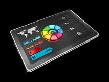 l'illustration 3D du graphique circulaire coloré créatif sur le comprimé, concept d'affaires, a isolé le noir Images stock