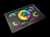 l'illustration 3D du graphique circulaire coloré créatif sur le comprimé, concept d'affaires, a isolé le noir Photographie stock libre de droits