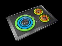 l'illustration 3D du graphique circulaire coloré créatif sur le comprimé, concept d'affaires, a isolé le noir Image libre de droits