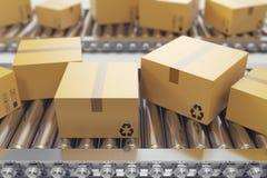 l'illustration 3D empaquette la livraison, service d'emballage et partage le concept de système de transport, boîtes en carton de illustration libre de droits