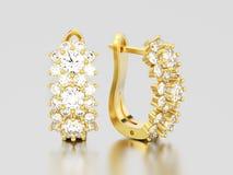 l'illustration 3D a isolé des boucles d'oreille de diamant d'or jaune avec la charnière illustration de vecteur