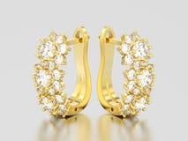 l'illustration 3D a isolé des boucles d'oreille de diamant d'or jaune avec la charnière illustration stock