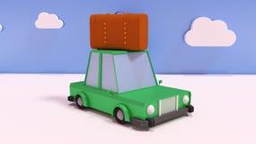 l'illustration 3d rendent Concept de voyage, voiture de bande dessinée avec la valise illustration libre de droits