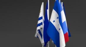 L'illustration 3d rendent, des drapeaux des cinq pays de l'Amérique Centrale illustration de vecteur
