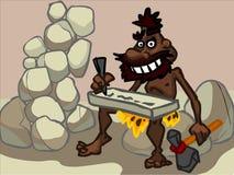 L'illustration d'un homme des cavernes de bande dessinée dans un désert Photographie stock libre de droits