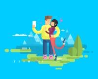 L'illustration d'un ménage marié heureux sur l'étreinte de vacances, d'homme et de femme font à selfie le fond Image stock