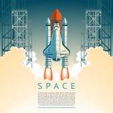 L'illustration d'une fusée plate de style décolle illustration libre de droits