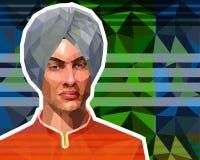 L'illustration dans le bas style de polygone - un portrait d'un jeune Sikh dans un turban illustration de vecteur