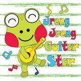 L'illustration de bande dessinée de vecteur de la grenouille mignonne joue la guitare Photo stock