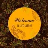 L'illustration de couleur d'automne stylisent le calibre avec le texte Conception de griffonnage pour le contexte Feuilles de des Photographie stock libre de droits