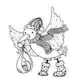 L'illustration de couleur mono de vecteur noir avec avec l'oiseau de cigogne a amené le bébé pendant le Joyeux Noël et la bonne a Photographie stock libre de droits