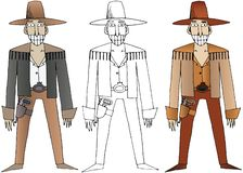 L'illustration de couleur occidentale sauvage d'aspiration de main de cowboys de bande dessin?e a plac? le griffonnage heureux illustration de vecteur