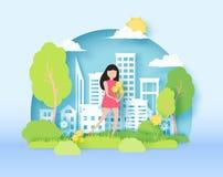L'illustration de coupe de papier d'abrégé sur le ressort 3d du paysage de papier coloré d'art avec le papier a coupé la fille te illustration libre de droits
