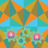 L'illustration de deux hommes d'affaires chaque roue colorée intérieure de dent embraye la photo Idée créative de fond pour l'équ illustration stock
