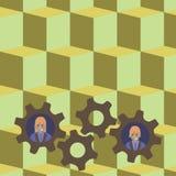 L'illustration de deux hommes d'affaires chaque roue colorée intérieure de dent embraye la photo Idée créative de fond pour l'équ illustration de vecteur