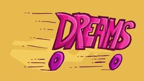 L'illustration de Dinamic du mot rêve, glissant loin sur des roues Images libres de droits
