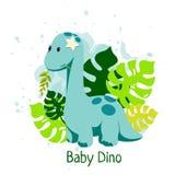 L'illustration de Dino de bébé dans le style plat avec le diplodocus et le monstera pousse des feuilles illustration de vecteur