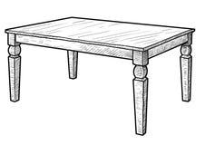 L'illustration de garde-robe, dessin, gravure, encre, schéma, vectorWooden l'illustration de table, dessin, gravure, encre, schém illustration de vecteur