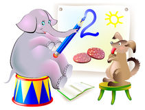 L'illustration de l'étude d'animaux écrivent des nombres Images libres de droits