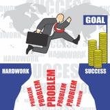 L'illustration de l'homme d'affaires va au succès en raison du hardwork Photographie stock libre de droits